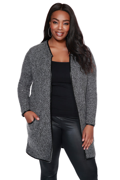 Cozy Jacket with Pleather Trim & Pockets - PLUS SIZE