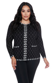 Diamond Jacquard Zip Cardigan with Pockets - PLUS SIZE