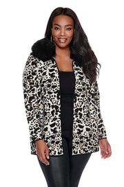 Women's Animal Print Notch-Collar Cardigan with Detachable Faux Fur Collar - PLUS SIZE
