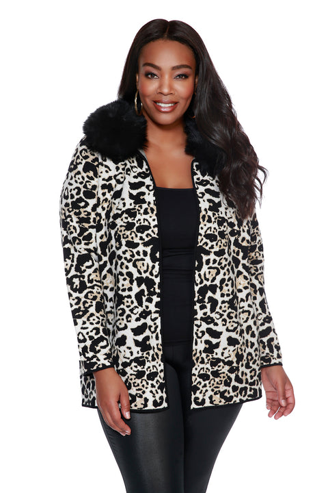 Animal Print Notch-Collar Cardigan with Detachable Faux Fur Collar - PLUS SIZE