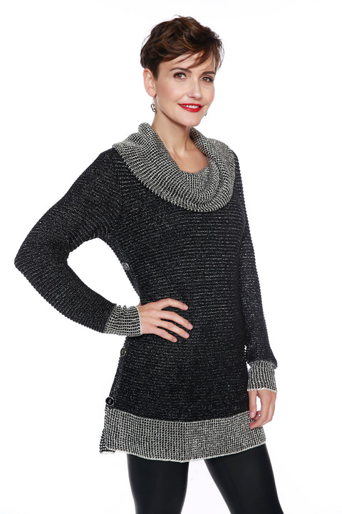 Cowl-neck Tunic with Sparkly Metallic Detail