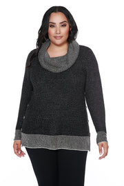 Cowl-neck Tunic with Sparkly Metallic Detail - PLUS SIZE