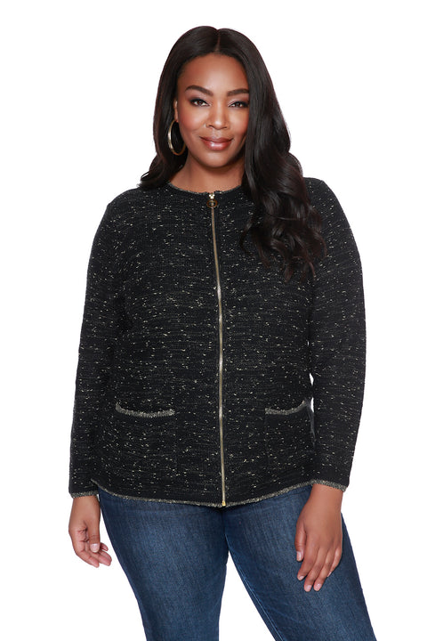 Zip Cardigan with Metallic Details & Front Pockets - PLUS SIZE