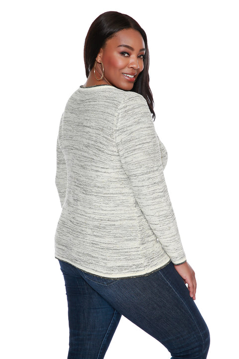 Women's Zip Front Cardigan with Metallic Details & Front Pockets - Curvy | Last Call