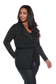 Houndstooth Wrap Cardigan with Belt - PLUS SIZE