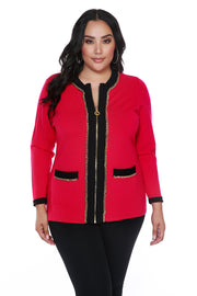 Two-tone Zip Cardigan with Chain Detail - PLUS SIZE