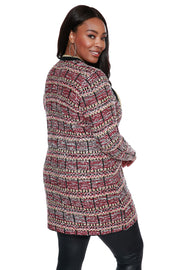 Jacquard Duster with Metallic Trim Details - PLUS SIZE