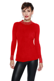Ribbed Sweater Top with Pearl & Rhinestone Embellishment