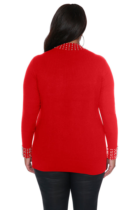 Ribbed Sweater Top with Pearl & Rhinestone Embellishment - PLUS SIZE