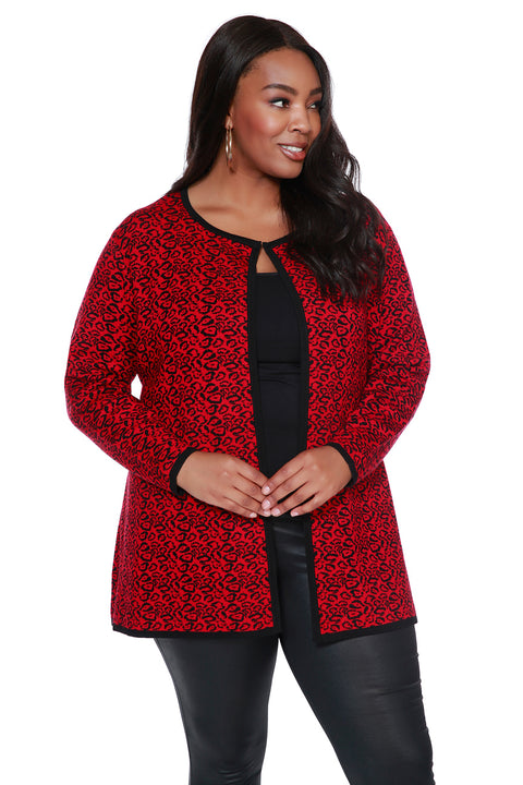 Print Jacquard Duster with Contrast Tipping - PLUS SIZE