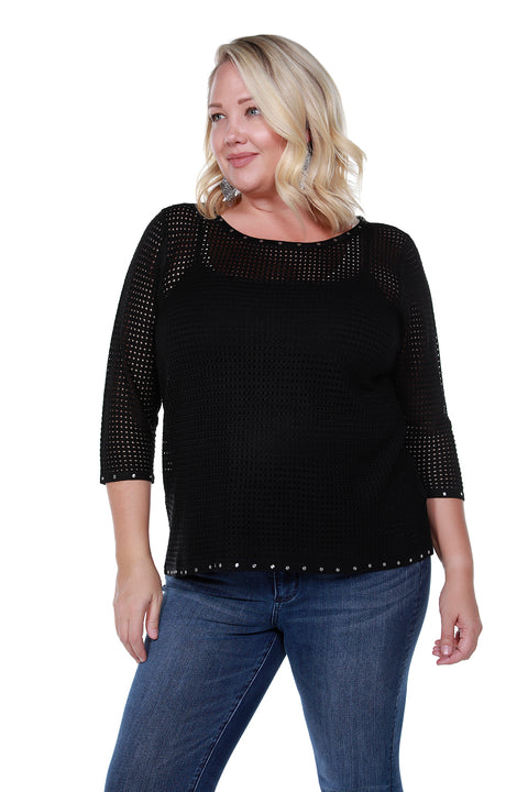 Embellished Mesh Stitch Pullover - PLUS SIZE