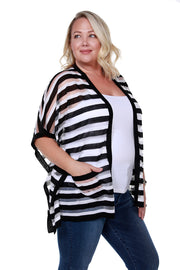 Multi Shadow Stripe 2 Pocket Poncho - PLUS SIZE
