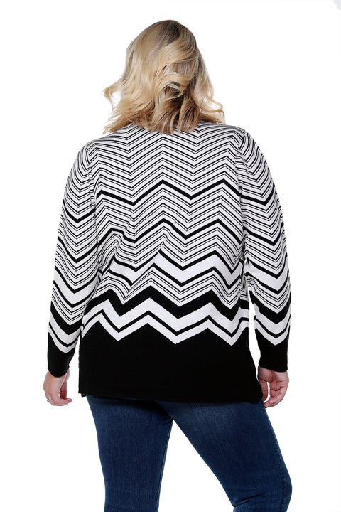 Contrast Chevron Stripe Open Cardigan - PLUS SIZE