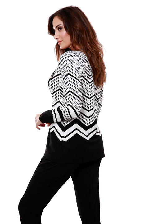 Contrast Chevron Stripe Open Cardigan