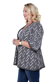 Multi Chevron Jacquard Open Cardigan - PLUS SIZE