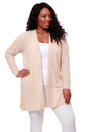 Textured Stitch Open Cardigan - PLUS SIZE