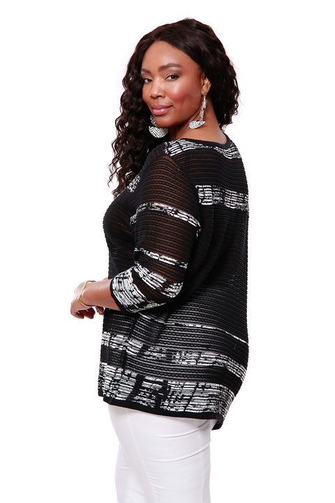 3/4 Sleeve Ribbed Asymmetrical Pull Over - PLUS SIZE