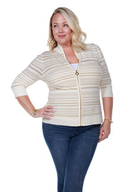 Lurex Textured Stripe Mock Neck Zip Up Cardigan - PLUS SIZE