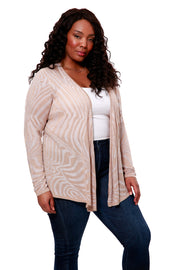 Long Sleeve Cross-over Pull Over With Ripple Jacquard - PLUS SIZE