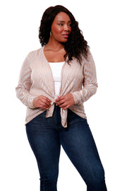 Long Sleeve Cross-over Pull Over With Ripple Jacquard - Curvy | Last Call