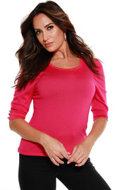 Women's 3/4 Sleeve Sweater with Puff Shoulders