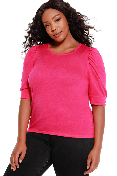 Women's 3/4 Sleeve Sweater with Puff Shoulders - Curvy