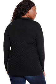 Women's Variegated Chevron Cardigan with Matching Tank - Curvy
