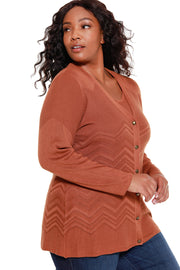48 Hour Deal | Women's Variegated Chevron Cardigan with Matching Tank - Curvy