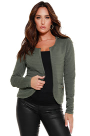 Women's Long Sleeve Ribbed Knit Cardigan
