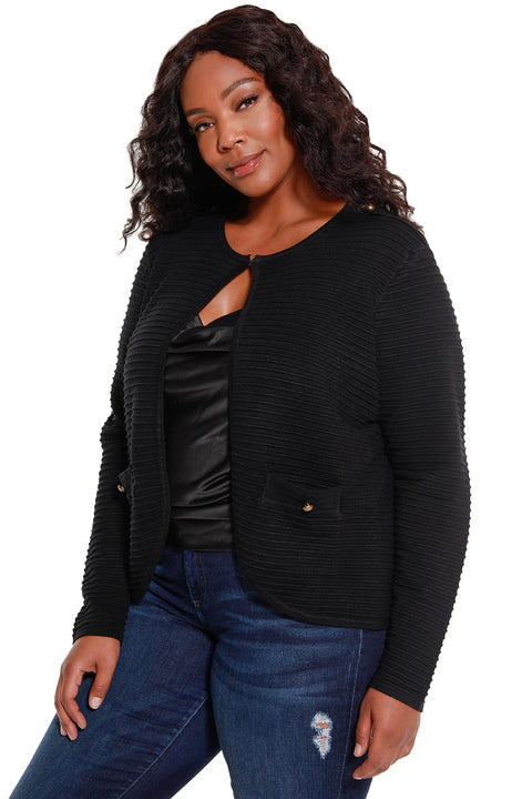 Women's Long Sleeve Ribbed Knit Cardigan - Curvy