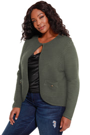 Women's Long Sleeve Ribbed Knit Cardigan - Curvy  |  LAST CALL