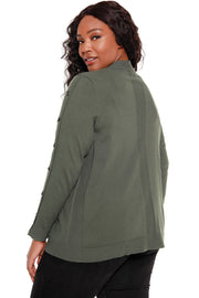 Women's Long Sleeve Open Cardigan with Toggle Trim Details - Curvy