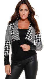 48 Hour Deal | Women's Long Sleeve Patchwork Houndstooth Blazer