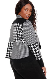 Women's Long Sleeve Patchwork Houndstooth Blazer - Curvy  |  LAST CALL