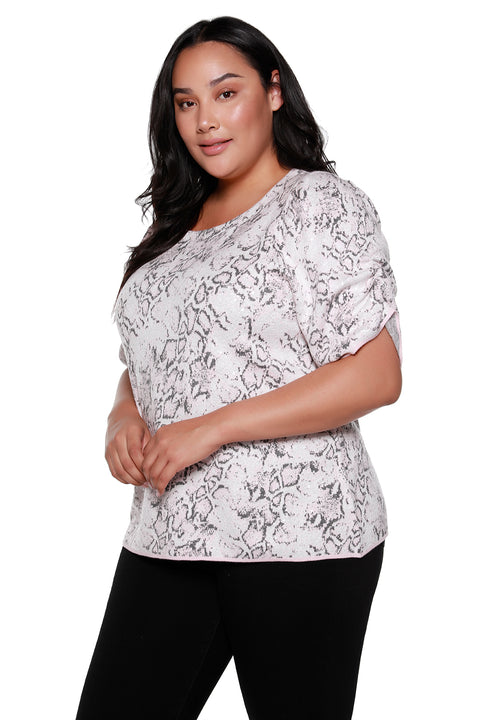 3/4 Puff Sleeve Snake Jacquard Sequin Sweater | Curvy