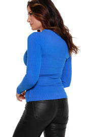 Women's Long Sleeve Ribbed Diamond Zipper Sweater