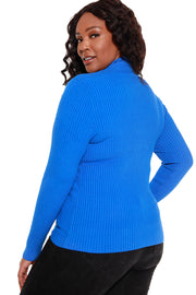 Women's Long Sleeve Ribbed Diamond Zipper Sweater - Curvy
