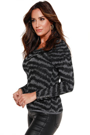 Women's Metallic Black and Silver Jagged Striped Top