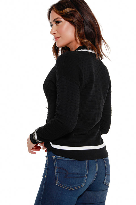 Women's Button Front V-Neck Sweater with Chain Details