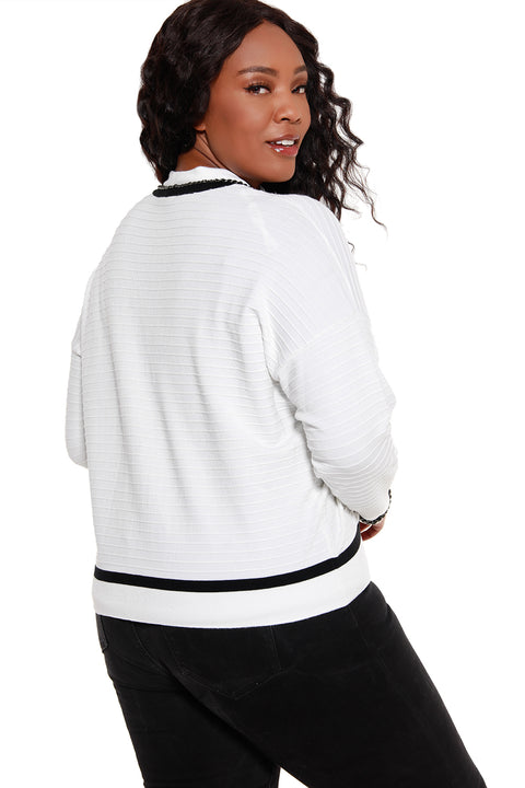 Women's Button Front V-Neck Sweater with Chain Details - Curvy  |  LAST CALL