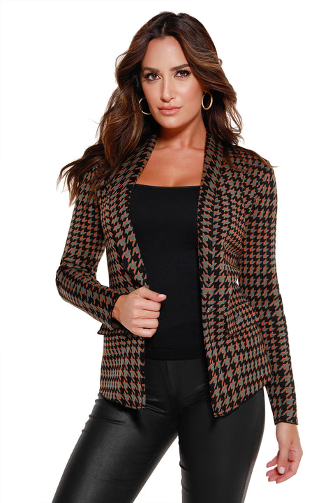 48 Hour Deal | Women's Long Sleeve Houndstooth Blazer with Single Button Closure