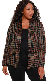 Women's Long Sleeve Houndstooth Blazer with Single Button Closure - Curvy