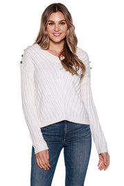 Women's Long Sleeve Rib Knit Sweater with Gold Button Details