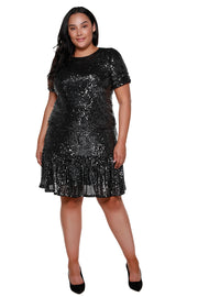 Women's Sequin Ruffle Hem Knee High Skirt - Curvy