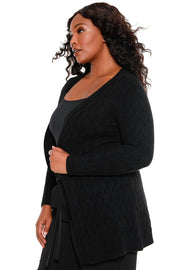 Women's Cozy Cable Knit Cardigan - Curvy