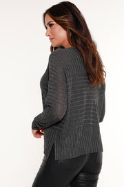Women's Multi-Directional Ribbed Sweater