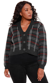 Women's Long Sleeve Plaid V-Neck Button Front Sweater - Curvy