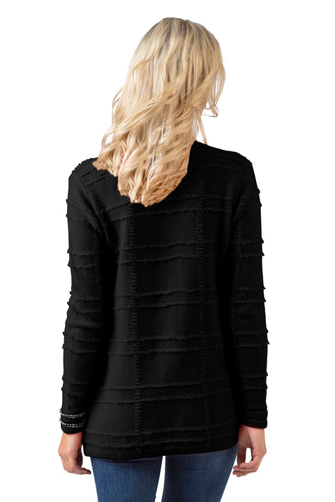 Women's Textured Knit Open Cardigan with Chain Detail