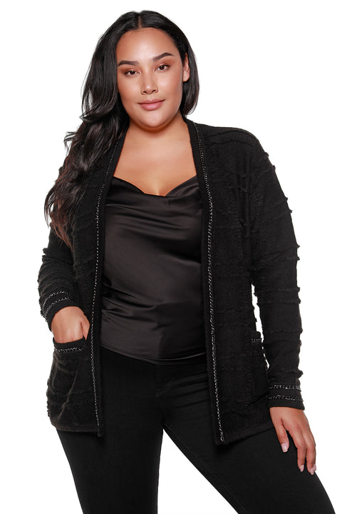 Women's Textured Knit Open Cardigan with Chain Detail - Curvy