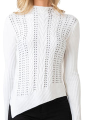 Women's Long Sleeve Asymmetrical Cable Sweater with Bead Details